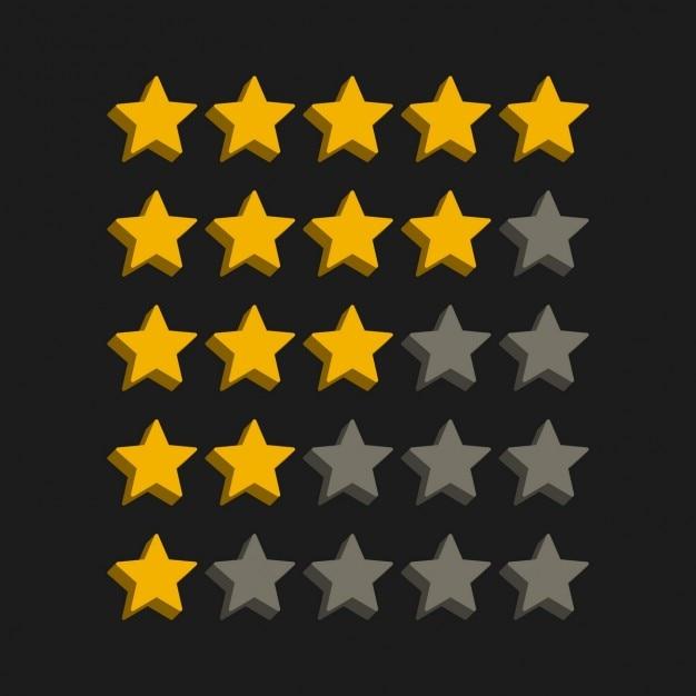 Étoiles de style 3d symboles Vecteur gratuit
