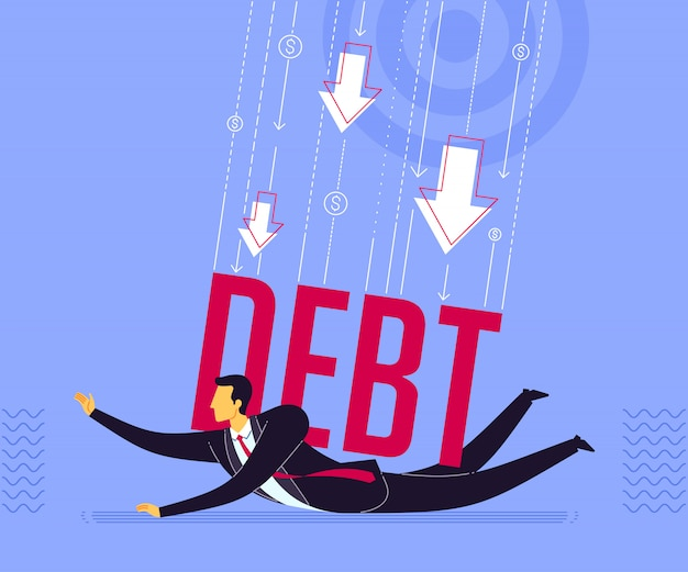 Être pressé par la dette Vecteur Premium