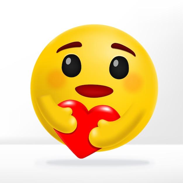 Étreindre Le Cœur Et Sourire émotion De Soins Réaction Des Médias Sociaux Illustration 3d Vecteur Premium