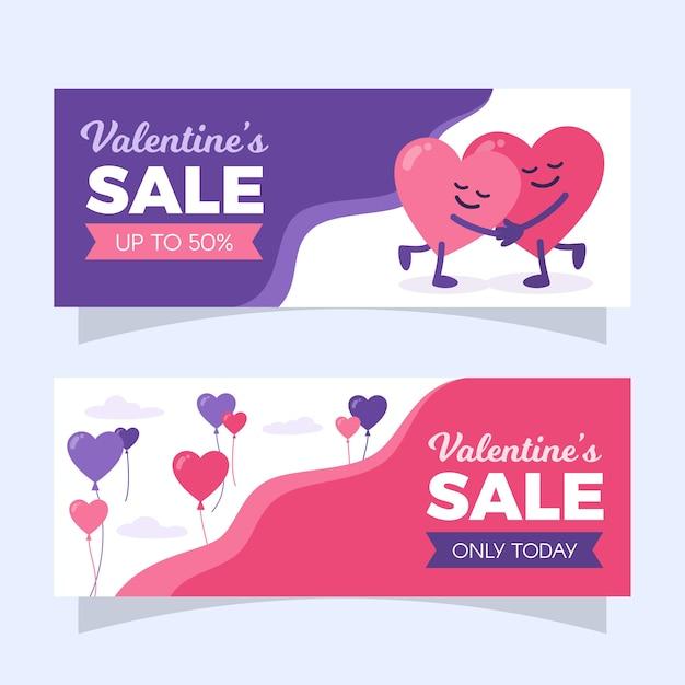 Étreindre Les Cœurs Bannière De Vente Saint Valentin Vecteur gratuit