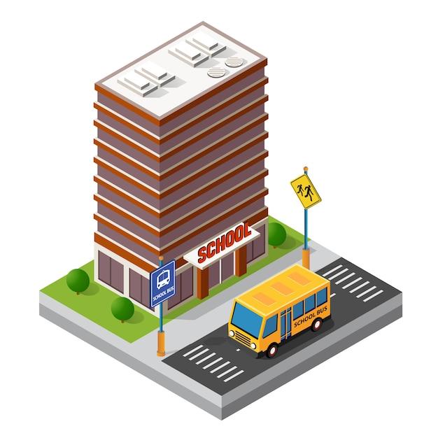 Étude de bâtiment isométrique Vecteur Premium