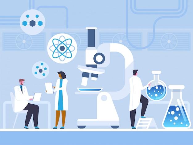 Étude de laboratoire chimique en style plat Vecteur Premium