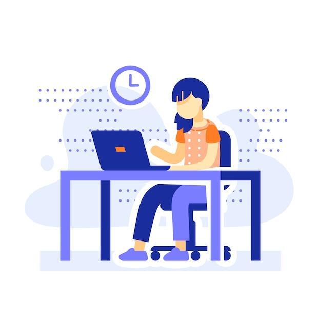 Étudiant Assis Au Bureau, écolière à Faire Ses Devoirs Derrière L'ordinateur, Apprentissage En Ligne, éducation à Distance Vecteur Premium