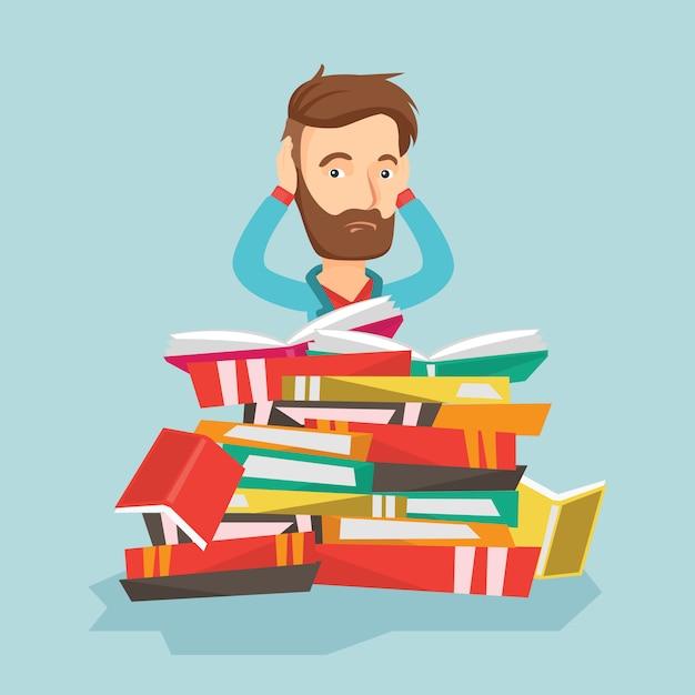 Étudiant assis dans une énorme pile de livres. Vecteur Premium