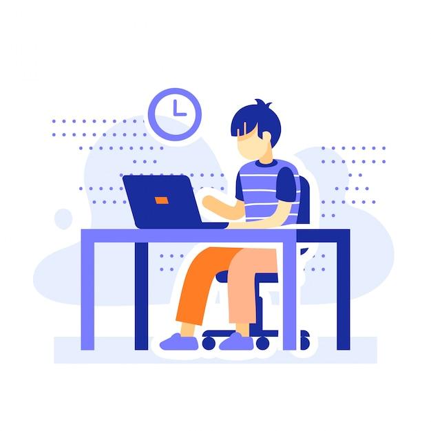 Étudiant Au Bureau Derrière L'ordinateur Vecteur Premium