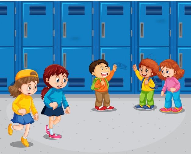 Étudiant, couloir école Vecteur gratuit