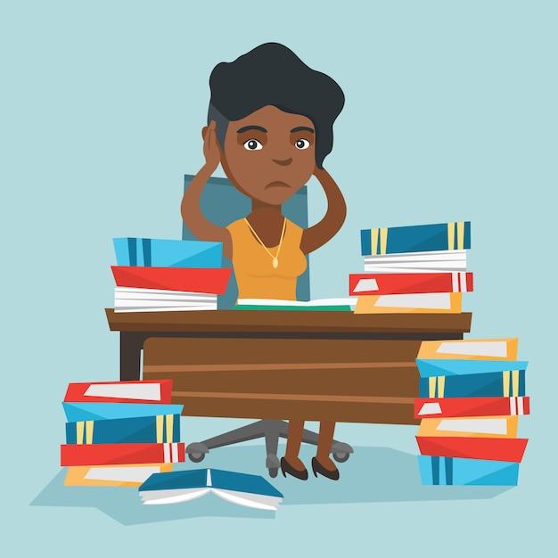 Étudiant désespéré étudiant avec de nombreux manuels. Vecteur Premium