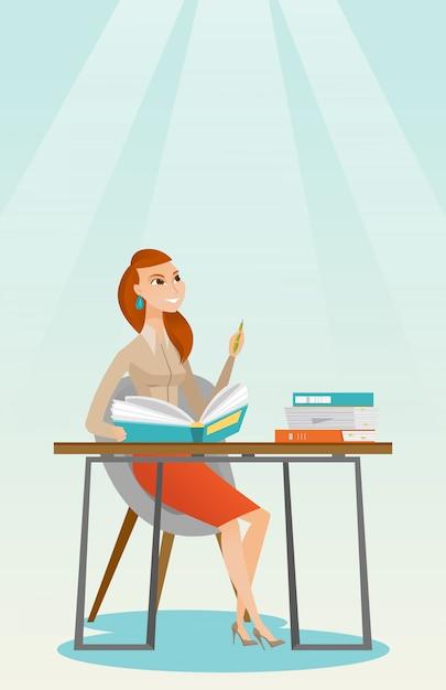Étudiant écrit à l'illustration vectorielle de bureau. Vecteur Premium