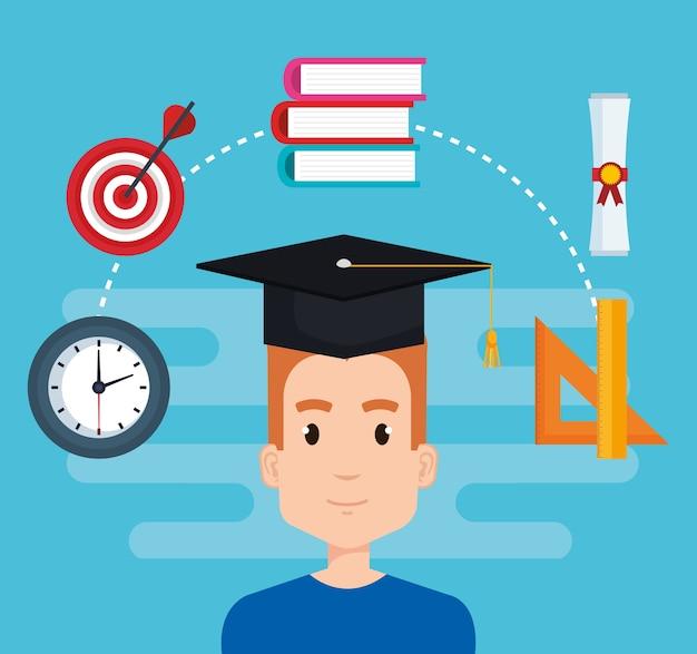 Étudiant avec l'éducation fournitures vector illustration design Vecteur Premium