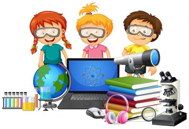 Étudiant avec élément scolaire Vecteur Premium