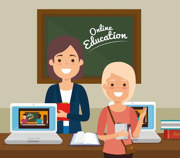Étudiant Et Enseignant Sur L'éducation En Ligne Vecteur Premium