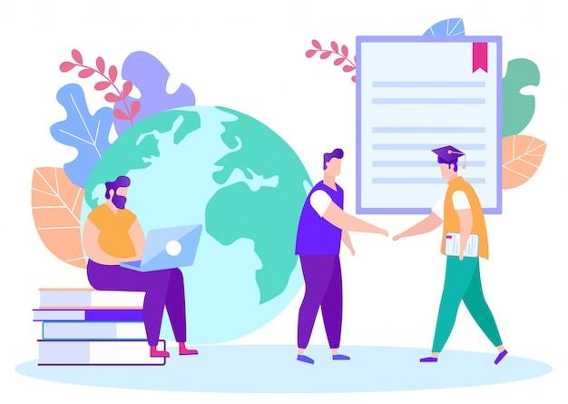 Étudiant et enseignant se serrent la main. apprentissage en ligne. apprentissage à distance. leçon en ligne. e-learning. homme avec ordinateur portable. Vecteur Premium