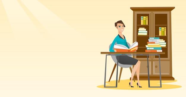 Étudiant, lecture, illustration vectorielle livre Vecteur Premium