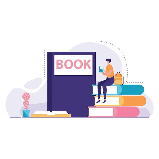 Étudiant, Lecture, Vecteur, Livre Vecteur Premium