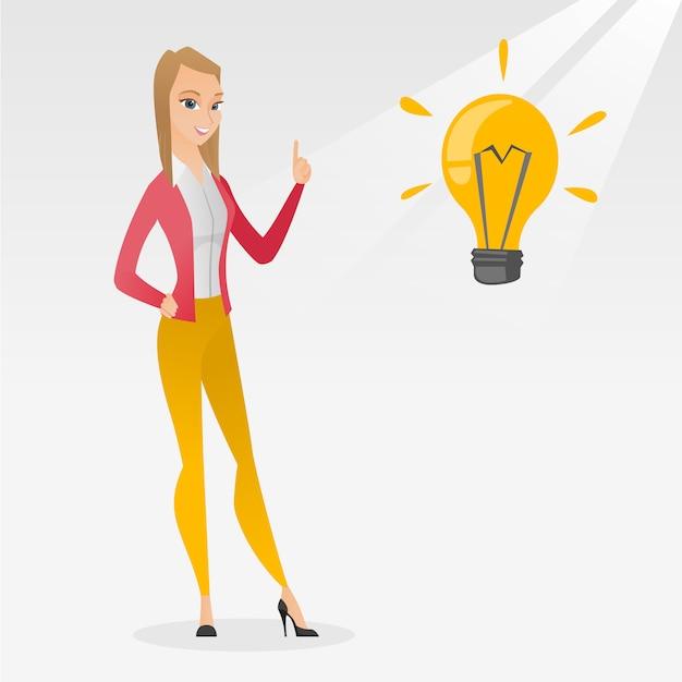 Étudiant pointant sur illustration vectorielle idée ampoule Vecteur Premium