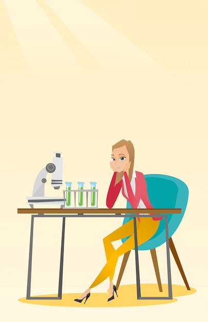 Étudiant travaillant en classe de laboratoire. Vecteur Premium