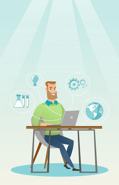 Étudiant travaillant sur illustration vectorielle portable. Vecteur Premium