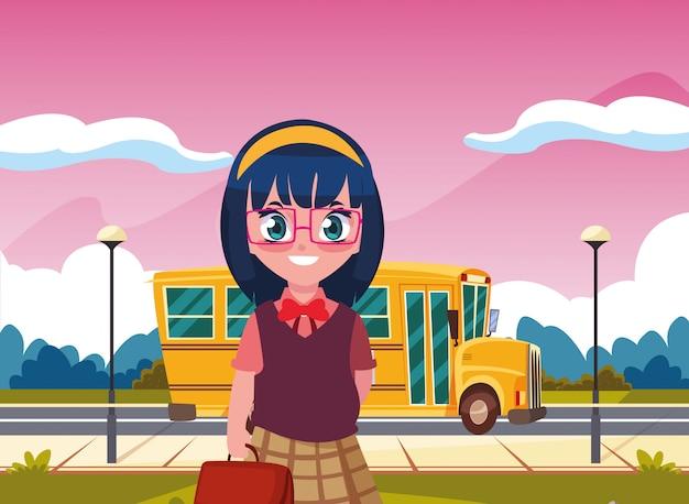 Étudiante, bus, retour école Vecteur Premium