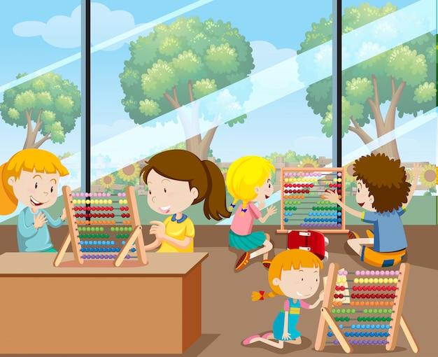 Les étudiants apprennent avec abacus Vecteur Premium