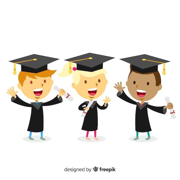 Étudiants avec des chapeaux de graduation Vecteur gratuit
