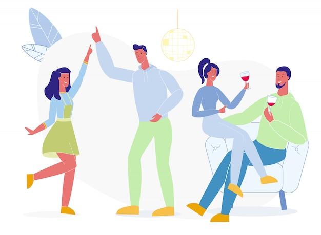 Étudiants, danse, boire, vecteur, illustration Vecteur Premium