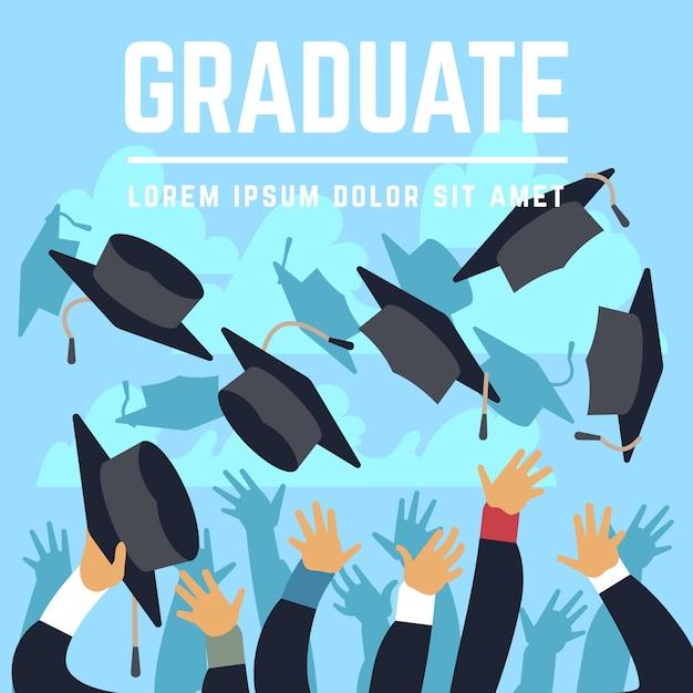 Étudiants diplômés du secondaire Vecteur Premium