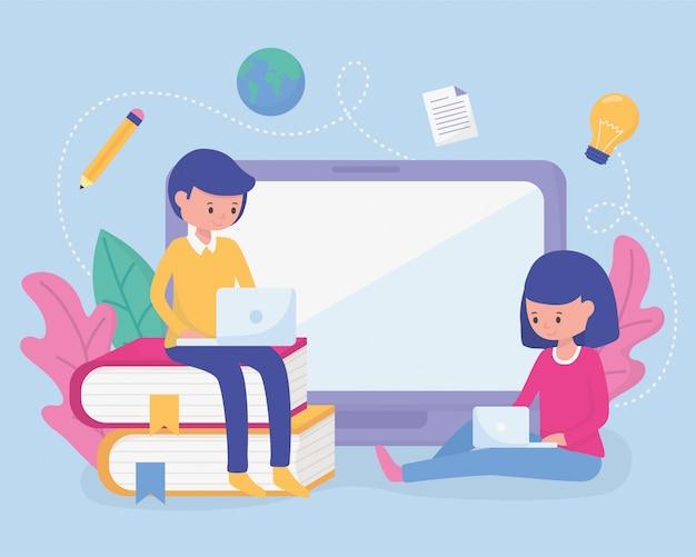Etudiants éducation scolaire en ligne Vecteur Premium