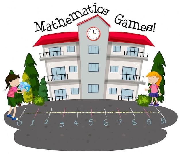 Étudiants jouant à des jeux de mathématiques Vecteur gratuit