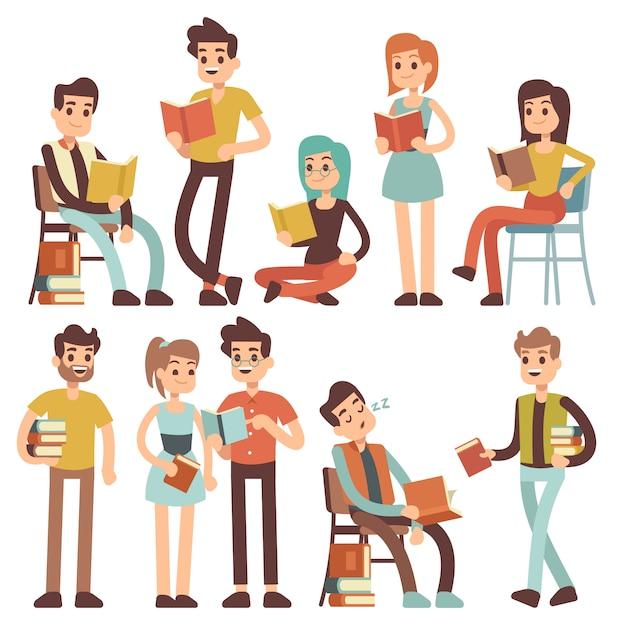 Les étudiants lisant des livres. les jeunes lisent des documents vectoriels personnages de dessins animés Vecteur Premium