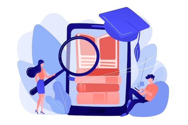 Étudiants Avec Pile De Lecture Loupe De Livres électroniques Dans L'application D'éducation Pour Smartphone Vecteur gratuit