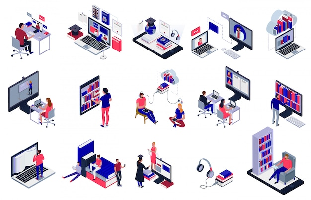 Les étudiants Qui étudient En Ligne à L'aide D'icônes De Bibliothèque électronique Mis Isolé Sur Blanc 3d Vecteur gratuit