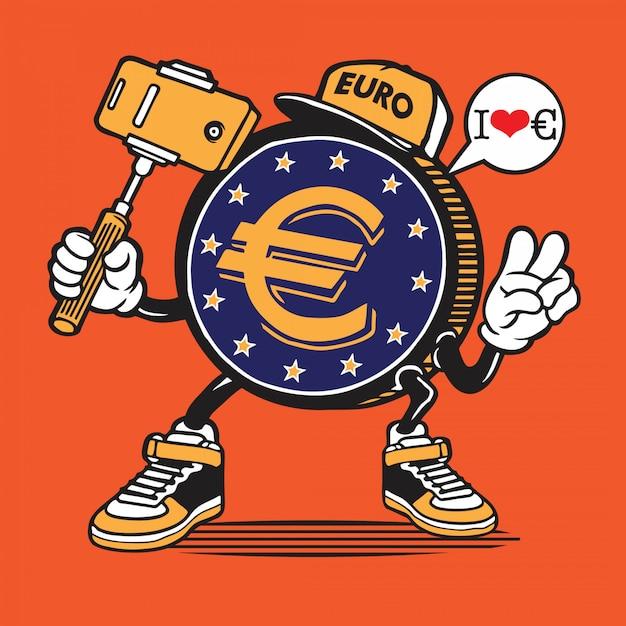 Euro coin money selfie caractère Vecteur Premium