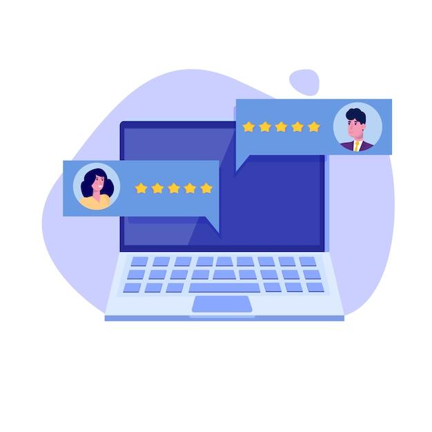 Evaluation client en ligne, concept de révision. évaluation de la convivialité. feedback, concept de notation, gestion de la réputation. illustration vectorielle Vecteur Premium