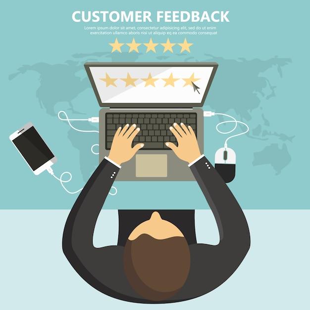 Évaluation sur l'illustration du service client. Vecteur Premium