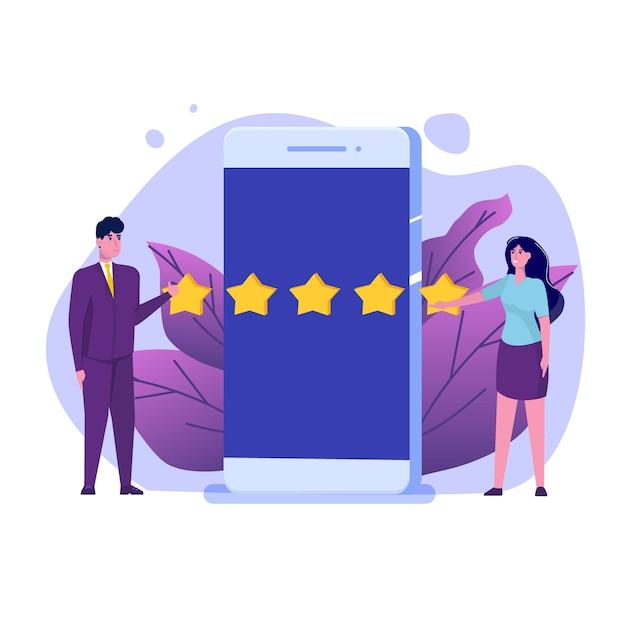 Évaluation En Ligne Du Client, Concept D'examen. évaluation De La Convivialité. Vecteur Premium