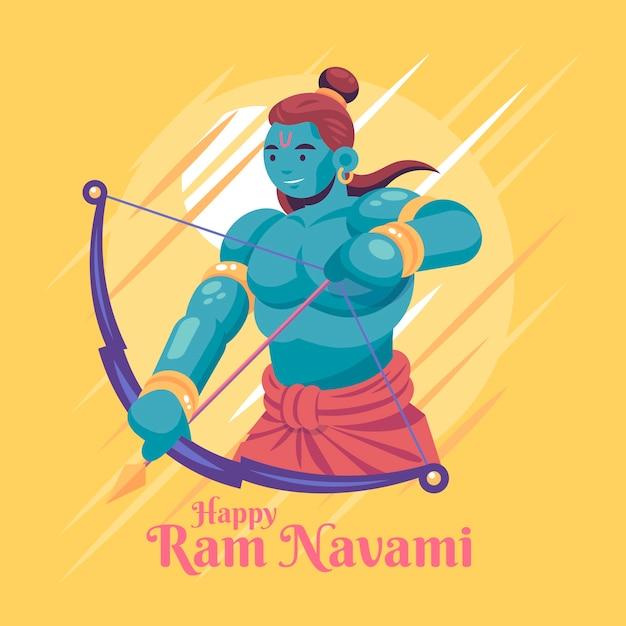 Événement De Design Plat Ram Navami Vecteur gratuit