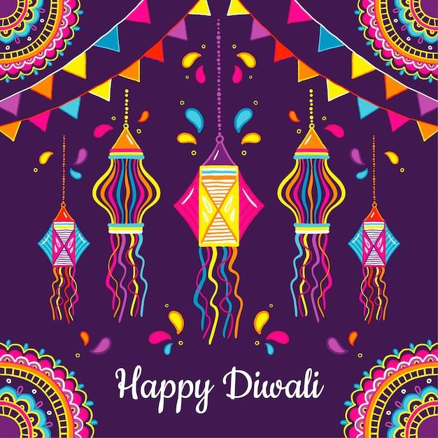 Événement De Diwali Design Dessiné à La Main Vecteur gratuit