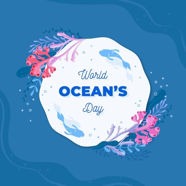 Événement Illustré De La Journée Mondiale Des Océans Avec Lettrage Vecteur gratuit