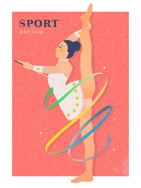 Événement De Jeu D'été De Gymnastique Rythmique Dans Un Style Plat Vecteur Premium
