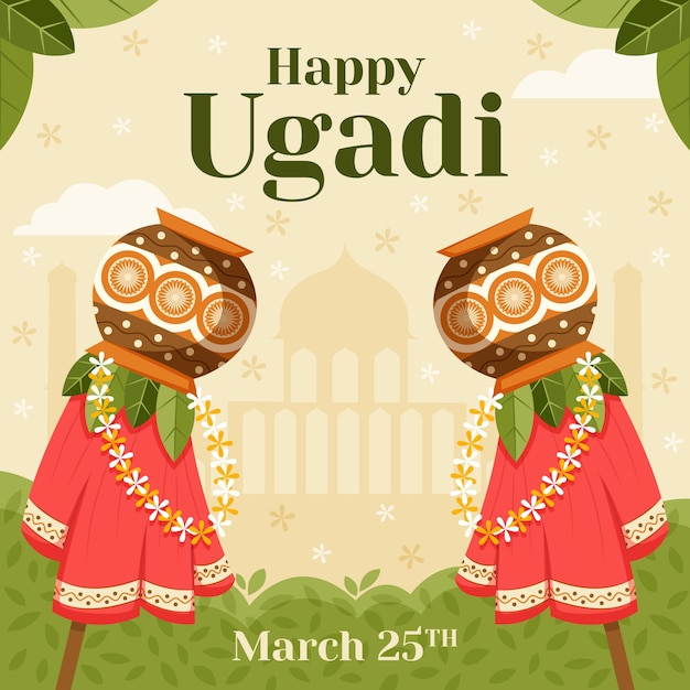 Événement De Jour Heureux Ugadi Design Plat Vecteur gratuit