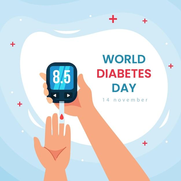 Événement De La Journée Mondiale Du Diabète Au Design Plat Vecteur Premium