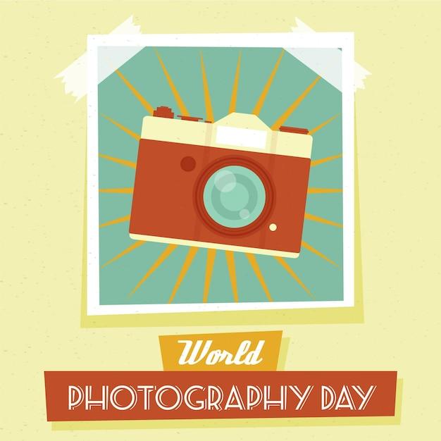 Événement De La Journée Mondiale De La Photographie En Design Plat Vecteur gratuit