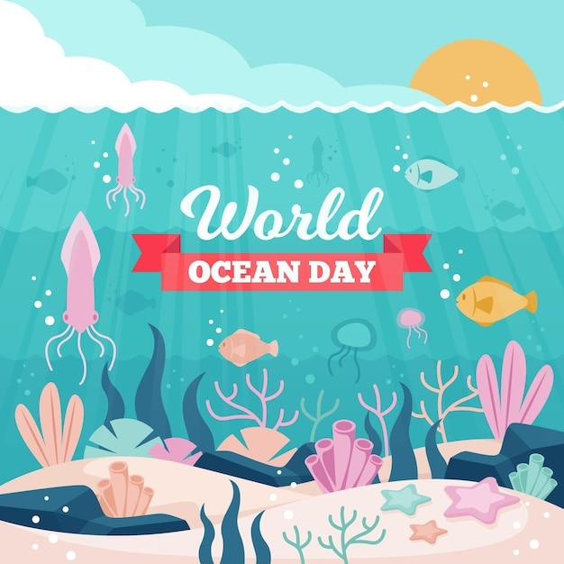 Événement De La Journée Des Océans Avec Du Poisson Vecteur gratuit
