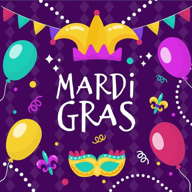 Événement De Mardi Gras Dessiné à La Main Vecteur gratuit