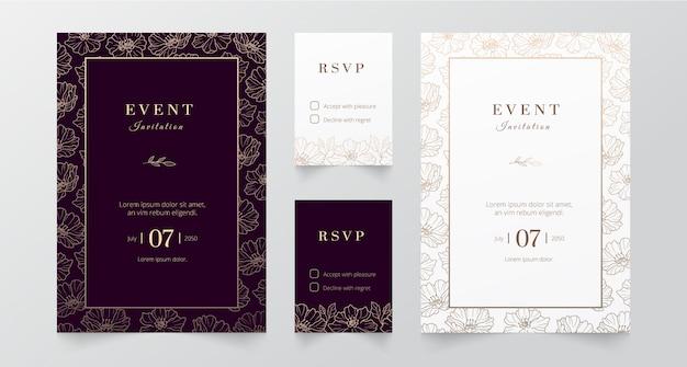 Événement Minimaliste Moderne Et Invitation De Mariage Vecteur Premium