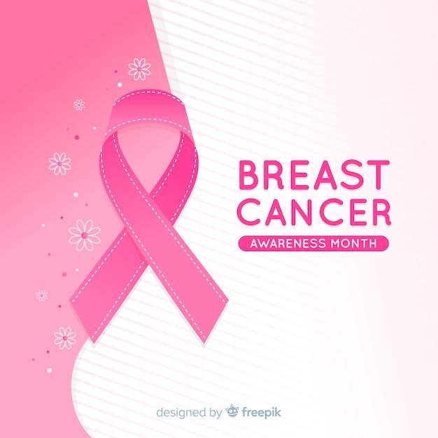 Événement de sensibilisation au cancer du sein avec un ruban réaliste Vecteur gratuit