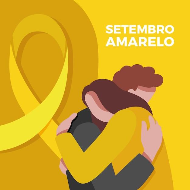 Événement De Sensibilisation Au Suicide Illustré Avec Des Amis Qui S'embrassent Vecteur gratuit