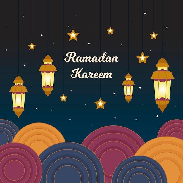 Événement Traditionnel Du Ramadan Et étoiles Nocturnes Vecteur gratuit