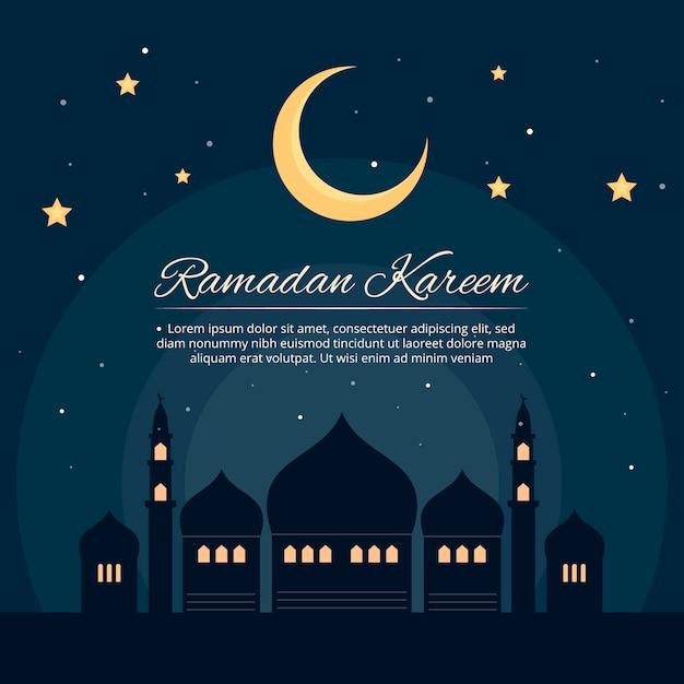 Événement Traditionnel Du Ramadan Et Lune Vecteur Premium