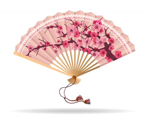 Eventail pliant de fleurs de cerisier du japon Vecteur Premium